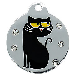Aluminum-Swarovski-Pet-ID-Tag-Black-Cat-Round-FulgorPet