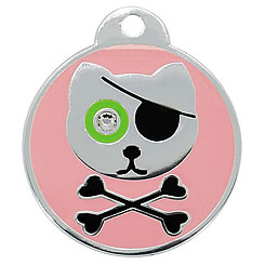 Aluminum-Swarovski-Pet-ID-Tag-Pirate-Cat-FulgorPet