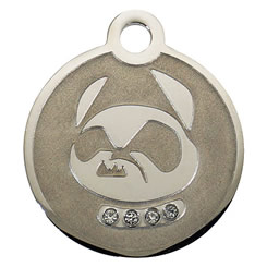 Swarovski-Crazy-Dog-Stainless-Steel-Pet-ID-Tag-FulgorPet-Left