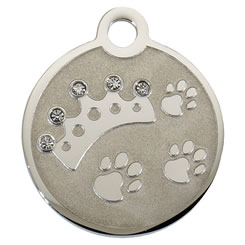 Swarovski-Crown-Stainless-Steel-Pet-ID-Tag-FulgorPet-Left