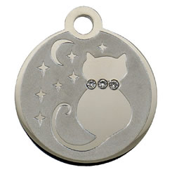 Swarovski-Dream-Cat-Stainless-Steel-Pet-ID-Tag-FulgorPet-Left