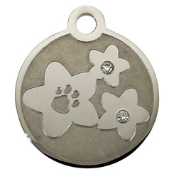 Swarovski-Flower-Paw-Stainless-Steel-Pet-ID-Tag-FulgorPet-Left