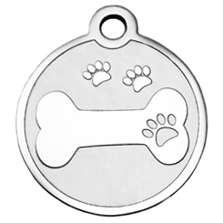 Stainless-Steel-Bone with three Paw-Pet ID Tag-Pet Tag-FulgorDesign