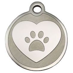 Stainless-Steel-Heart-Paw-Pet ID Tag-Pet Tag-FulgorDesign