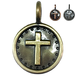 Antique Bronze Cross-Pet ID Tag-Pet Tag-FulgorDesign-FulgorPet-