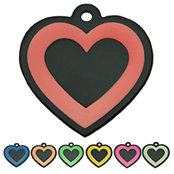 Pettag-Black Plating with Enamel Color-Heart--Pet ID Tag-Pet Tag-FulgorDesign-FulgorPet