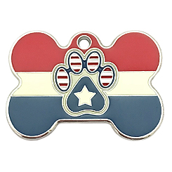 Bone style USA Paw Tag-Pet ID Tag-Pet Tag-FulgorDesign-FulgorPet