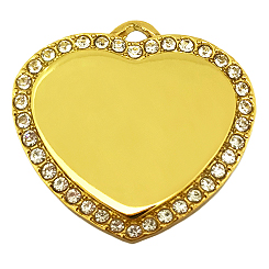 Crystal Gold Heart Tag-Pet ID Tag-Pet Tag-FulgorDesign-FulgorPet