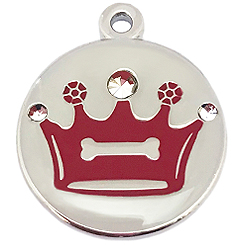 Crystal Red Crown Tag-Pet ID Tag-Pet Tag-FulgorDesign-FulgorPet