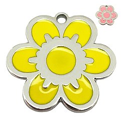 Pettag-Sunny Flower Yellow Tag-Pet ID Tag-Pet Tag-FulgorDesign-FulgorPet