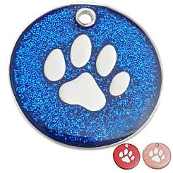 Zinc Alloy Mix Paw blue powder Round Tag-Pet ID Tag-Pet Tag-FulgorDesign-FulgorPet
